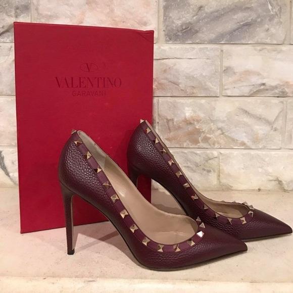 c81b27802cd7 Valentino Rockstud Wine Burgundy Red Pebble Stud